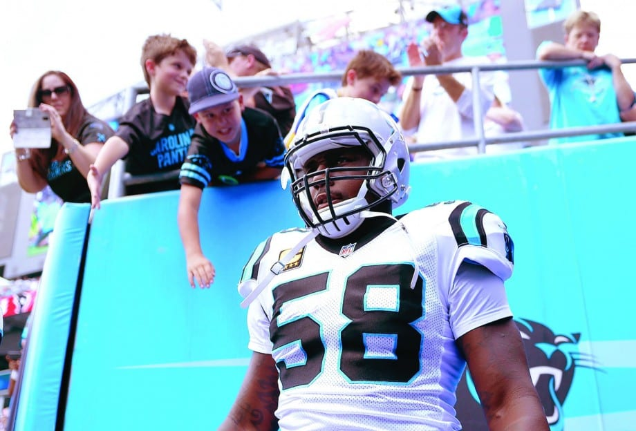 CHARLOTTE, NC - SEPTEMBER 20: Thomas Davis #58 of the Carolina Panthers prepares to take the field against the Houston Texans at Bank of America Stadium on September 20, 2015 in Charlotte, North Carolina. (Photo by Grant Halverson/Getty Images)