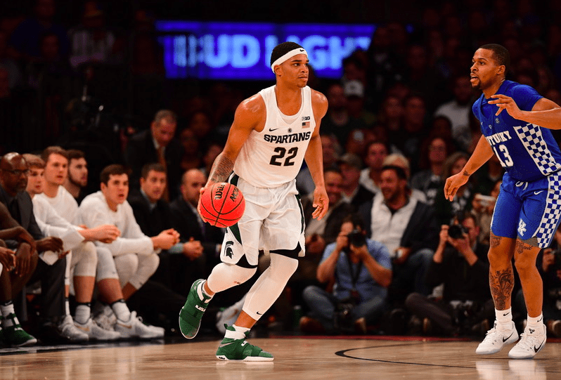 Michigan State's Miles Bridges using basketball to point ...